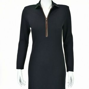 Ralph Lauren Navy & Brown Leather Trim Dress US12